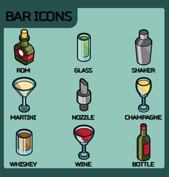 bar color outline isometric icons vector image vector image