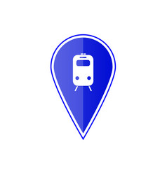 Blue map pointer with subway or railway station vector
