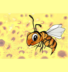 Cartoon bee flying over a field of flowers vector