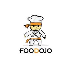 cartoon karate food chef vector image