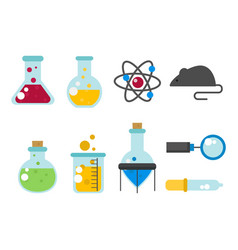chemical laboratory flask glassware tube liquid vector image