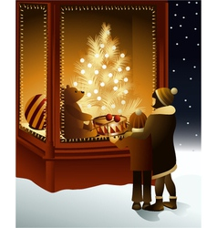 Christmas magic shop window vector image vector image
