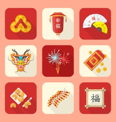 color flat style chinese new year icons set vector image vector image