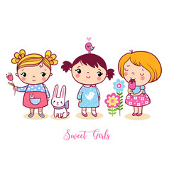 Cute cartoon girls set v vector