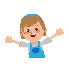 Cute girl student elementary cheerful vector