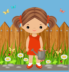 Cute girl with a watering can vector