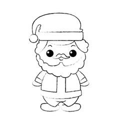 Cute santa claus kawaii character vector
