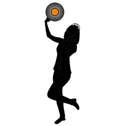 dancing girl with vinyl vector image