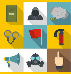 Demonstration icon set flat style vector