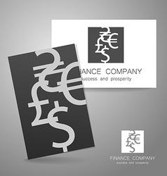 financial company dollar euro sign logo vector image