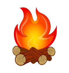 Fire on fire wood vector