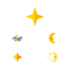 Flat icon bedtime set of star nighttime midnight vector