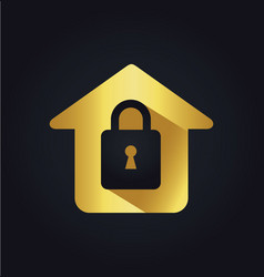 home lock secure icon gold logo vector image