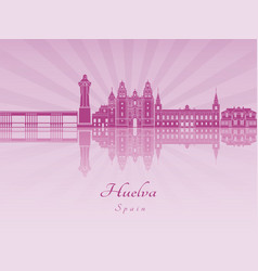 Huelva skyline in purple radiant orchid vector
