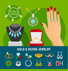 jewelry icons collection vector image vector image