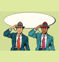 Joyful white and black businessmen in retro hats vector
