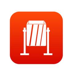 Metal dust bin icon digital red vector