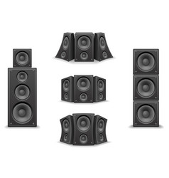 music speaker twisted isolated 3d realistic icons vector image