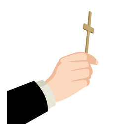 Priest hand holding holy cross vector