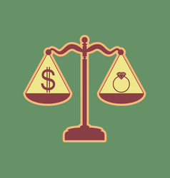 Ring jewelery and dollar symbol on scales vector