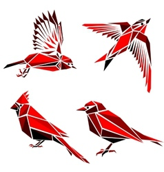 Set of four red triangle formed birds vector image vector image