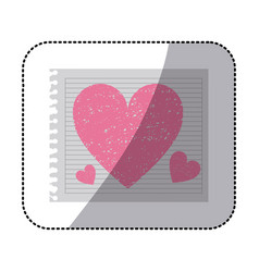 Striped notebook sheet with pink hearts hand drawn vector