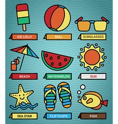 Summer beach icons set vector image vector image