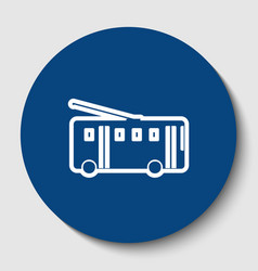 Trolleybus sign white contour icon in vector