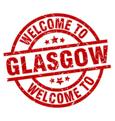 Welcome to glasgow red stamp vector