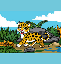 young leopard in the jungle vector image vector image