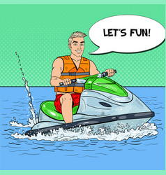 Young man on jet ski water sports pop art vector