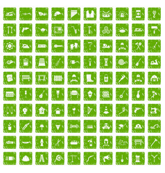 100 tools icons set grunge green vector
