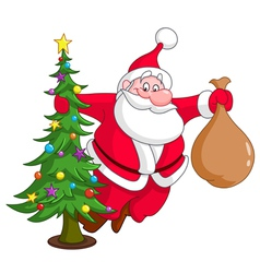 Santa with christmas tree vector