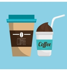 Two cup coffee fresh and hot graphic vector