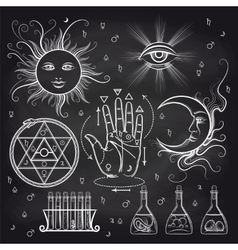 Isoteric and alchemy elements on chalkboard vector image