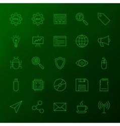Programming skills line icons vector