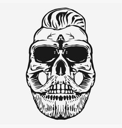 Hipster skull with beard and mustache vector