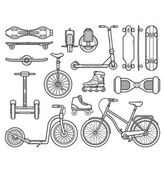 Alternative city transport and gadgets vector