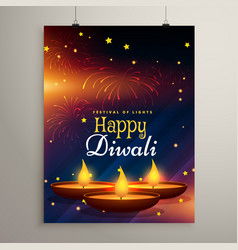 Flyer design for diwali festival diwali greeting vector