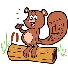 Cartoon Beaver On Log vector image