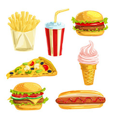 Fast food lunch meal with dessert watercolor set vector