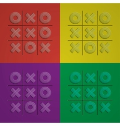 Set glass tic tac toe vector