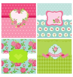 Set of floral card - floral shabby chic theme vector