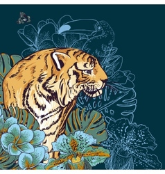 Tropical Exotic Floral Background with Tiger vector image