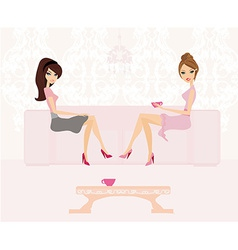 Cute pretty two girls in coffee break vector