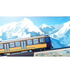Train in alps vector