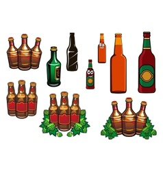 Cartoon glass beer bottles with blank labels vector