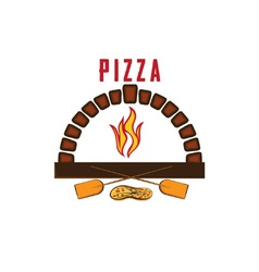 Oven with pizza vector