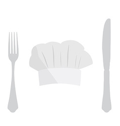 Cook hat fork and knife vector