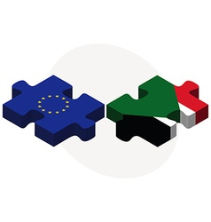 European union and sudan flags vector